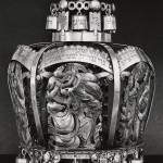 Ilya Schor, Torah Crown, detail: The Sacrifice of Isaac, pierced and engraved silver, c.mid-1950s, c. 12 inches high. To my knowledge this Torah Crown was destroyed in a synagogue fire in the 1950s.