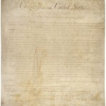 The first 10 Amendments to the Constitution, commonly known as the Bill of Rights, as important a document as the writing is faint