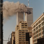 World Trade Center, view south from teh corner of Lispenard and Chruch STreet, September 11, 2001, 9:01 (EDT) [approximate time based on chronologies of the day]