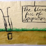 Mira Schor, The Bland Face of Expropriation, July 22, 2012. Ink and gesso on tracing paper, c. 18 x 30 in.