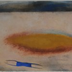 Mira Schor, The Bay at 7:30PM July 30, 1982. Dry pigment, pastel, medium on rice paper, 21 x 29 1/2 in.