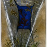 Mira Schor, August 1984. Gouache, dry pigment, medium on rice paper, 72 x 36 in.