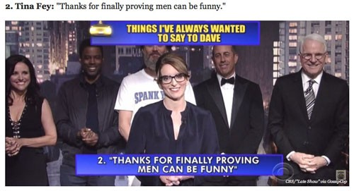 Tina Fey top ten Letterman