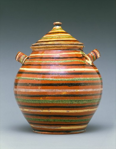 Sugar Pot, American, c. 1820-1840, earthenware with slip decoration, Coll. Metropolitan Museum, American Wing