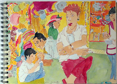 Mimi Gross, Mercado Sonora, Mexico City, 2012. Watercolor and ink in sketchbook.