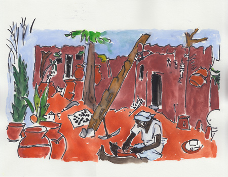 Mimi Gross, 4.Village outside of Gaoua, Ivory Coast, West Africa, 2013, watercolor and ink.