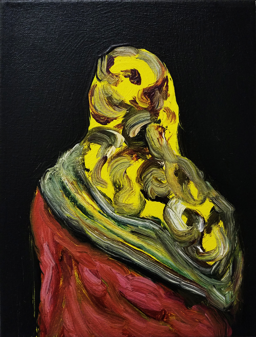 "Joy Garnett, ""Yellow Scarf,"" 2016. Oil on canvas, 12x9 inches"