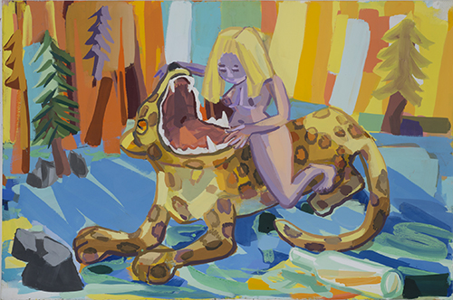 "Judith Linhares, ""Back Talk,"" 2012. Gouache on paper, 29.5 x 44.25 inches"