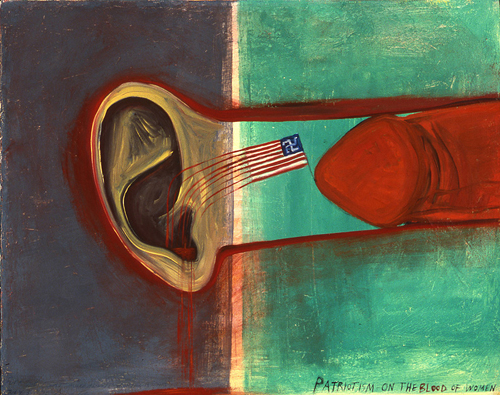 "Mira Schor, ""Patriotism on the Blood of Women,"" 1989. Oil on canvas, 16 x 20 inches."