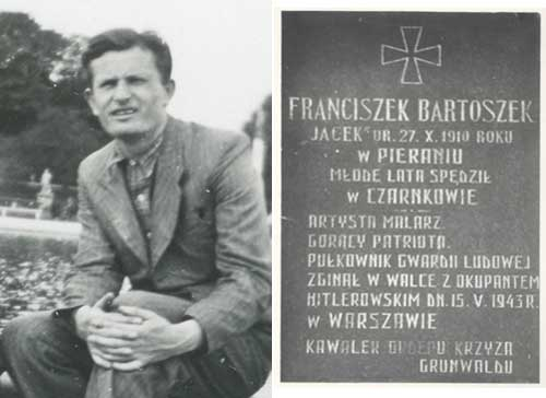 "Photo detail, Bartoszek, Paris, c. 1937; Stele installed in Czarnow in 1964: Franciszek Bartoszek, ""Jacek"" [code name ""Jack""] Born October 27, 1910 in Pieranie, spent his youth in Czarnow, Painter, Ardent Patriot, Colonel of People's Guard, Died fighting Hitlerist occupiers, May 15, 1943 in Warsaw."