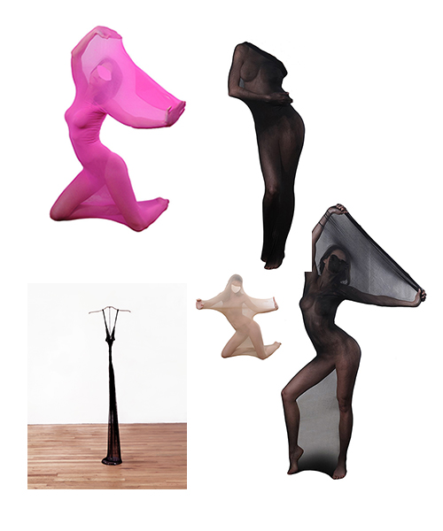 "Maureen Connor, collage with photo of ""Thinner Than You"", 1990 and images of Fasicat Sexy Whole Body Stockings Unisex Bondage Sheer Encasement Cocoons, 2016"