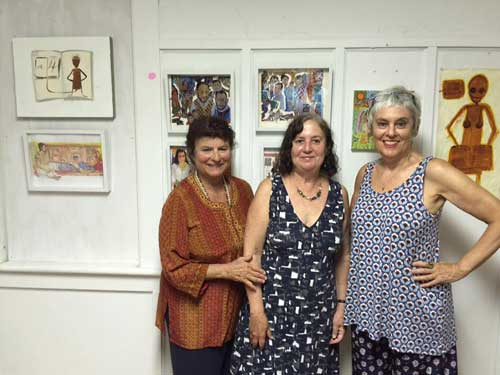 "from l. to r., Mimi Gross, Susan Bee, and Mira Schor, at the opening of their show ""Three Friends,"" at Tim's Used Books, Provincetown, August 19, 2016."