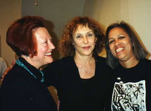 l. to r., Martha Wilson, Carolee Schneemann, and Emma Amos, M/E/A/N/I/N/G party June 1996
