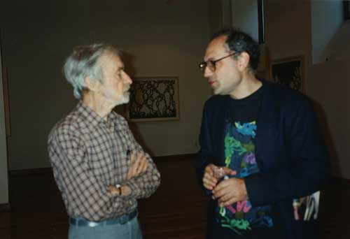 Rudy Burckhardt and Charles Bernstein, M/E/A/N/I/N/G party June 1996