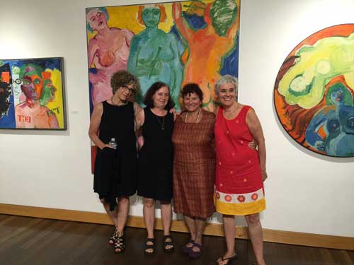 "From l. to r., Johanna Drucker, Susan Bee, Mimi Gross, and Mira Schor at the opening of ""Views and Vignettes: The Work of Miriam Laufer,"" Susan's mother, at the Provincetown ARt Association and Museum, August 11, 2016"
