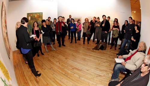 Reception for 25th anniversary issue of M/E/A/N/I/N/G, Accola Griefen Gallery, NYC, with Kat Griefen, Kriten Accola, Jackie Brookner, Bob Berlind, Toni Simon, Lenore Malen, Nancy Princenthal, and more, December 15, 2011
