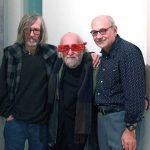 l. to r.,Tom McEvilley, Jerry Rothenberg, and Charles Bernstein, M/E/A/N/I/N/G 25th Anniversary party at Accola Griefen Gallery, December 15, 2011
